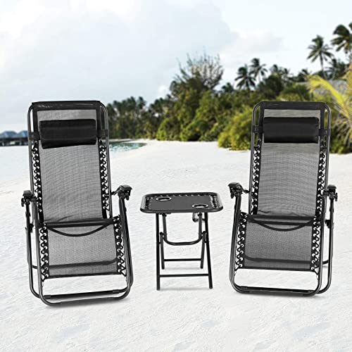 Mecor 3PC Zero Gravity Lounge Chairs Beach Chairs Patio Chairs Adjustable Folding Recliner with Folding Table Outdoor Yard Beach