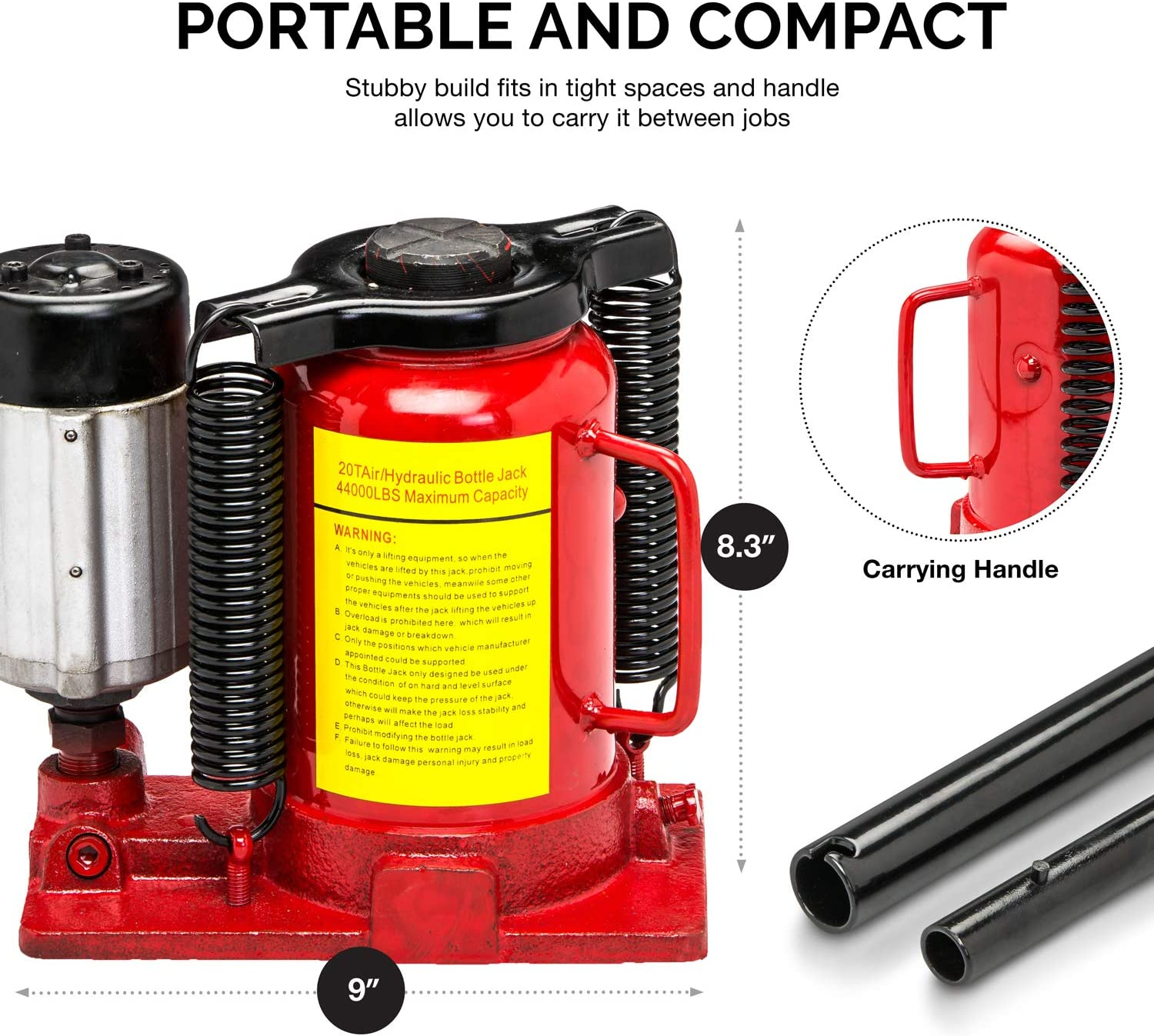 Tooluxe 31010L Low Profile Air Hydraulic Bottle Jack || 20