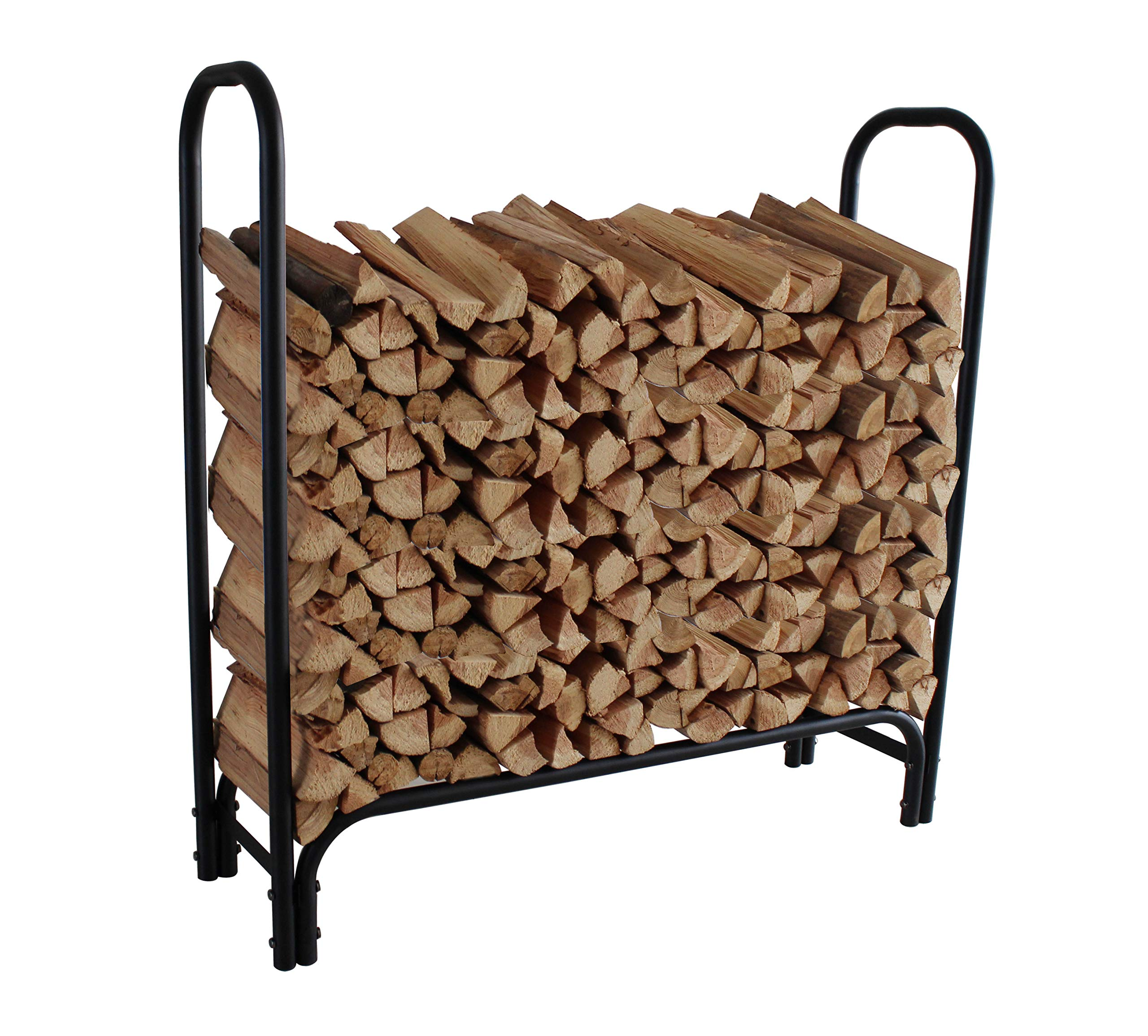 4ft Firewood Rack Outdoor Log Holder for Fireplace Heavy Duty Wood Stacker for Patio Deck Metal Kindling Logs Storage Stand Steel Tubular Wood Pile Racks Outside Fire place Tools Accessories Black by Everflying