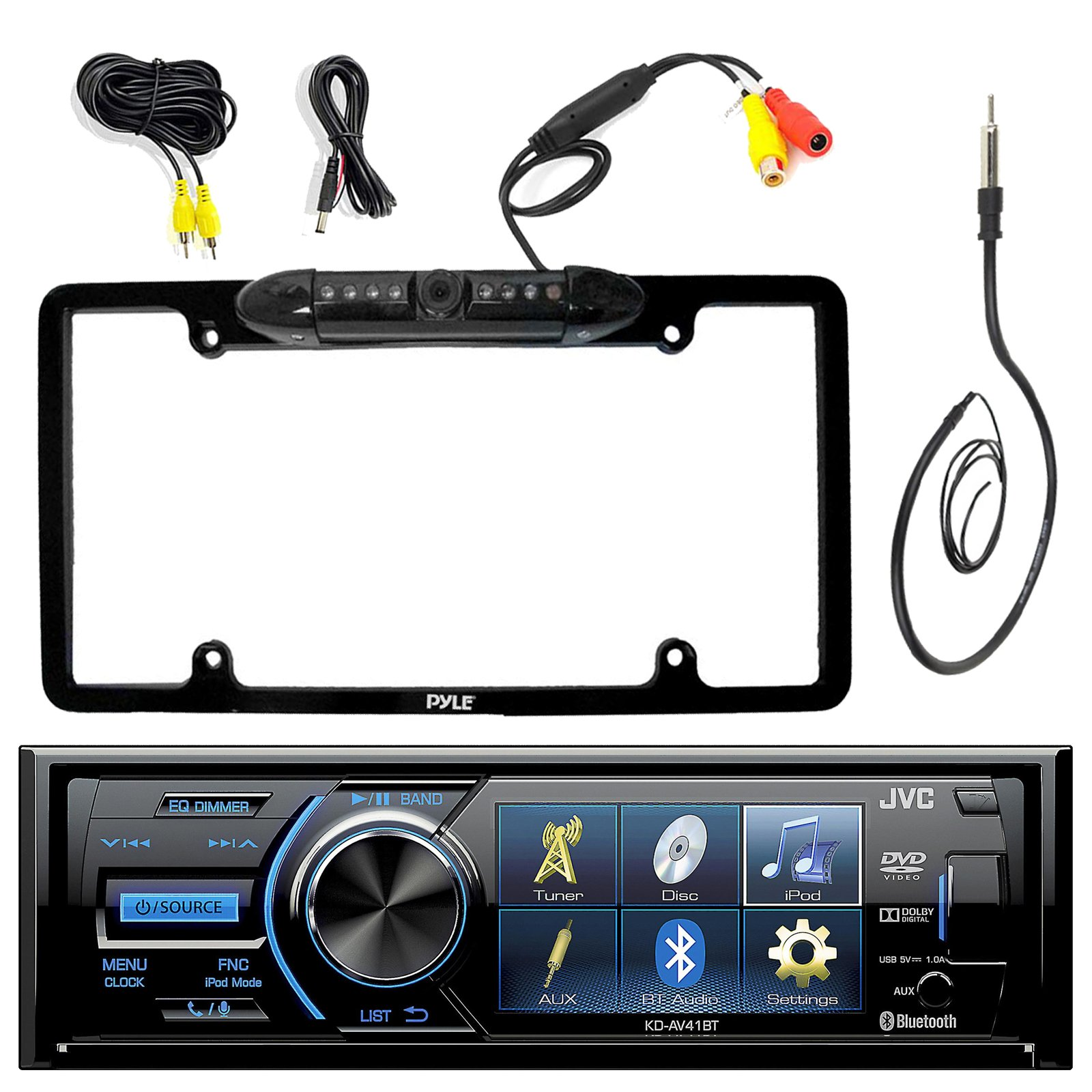 JVC KD-AV41BT 3'' Inch Display Car CD DVD USB Bluetooth Stereo Receiver Bundle Combo With Car License Plate Frame Rear View Colored Backup Parking Camera, Enrock 22'' AM/FM Radio Antenna by EnrockAudioBundle