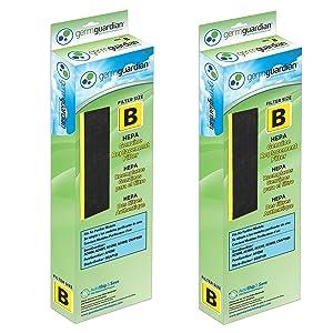 Germ Guardian FLT48252PK GermGuardian FLT4825 HEPA Replacement Filter B, AC4825E, AC4300BPTCA, AC4850PT, AC4900CA, CDAP4500BCA, CDAP4500WCA Air Purifiers, 2 Pack