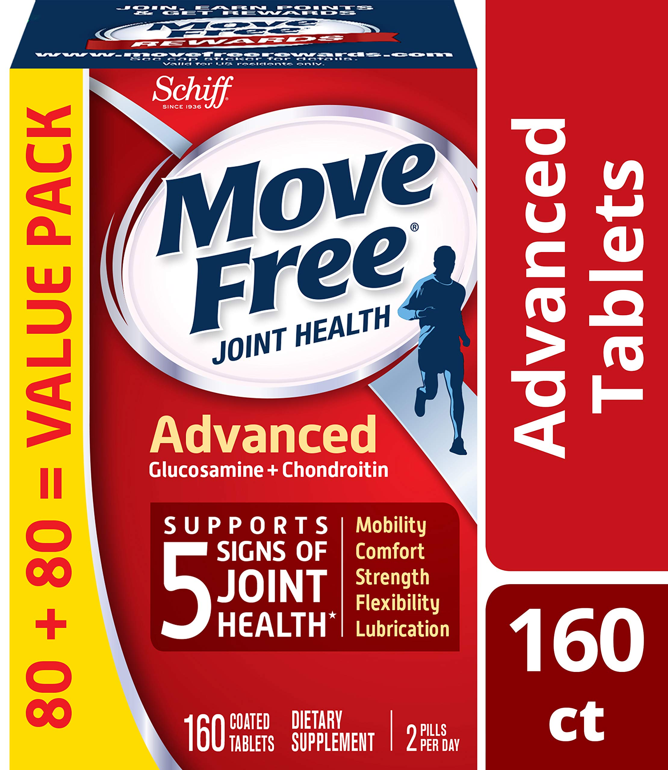 Glucosamine & Chondroitin Advanced Joint Health Supplement Tablets, Move Free (160 count in a bottle), Supports Mobility, Flexibility, Strength, Lubrication and Comfort by Move Free