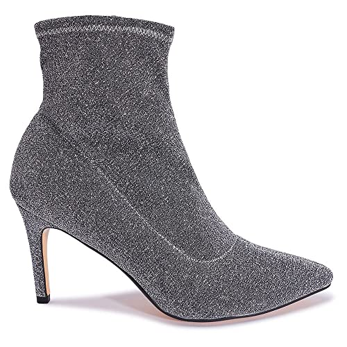 4ae5b3feb233 Shoesdays Ladies Glitter Lycra Sock Fit High Heel Ankle Boots Pointed Toe  Lurex Party Stretch Sizes 3-8  Amazon.co.uk  Shoes   Bags