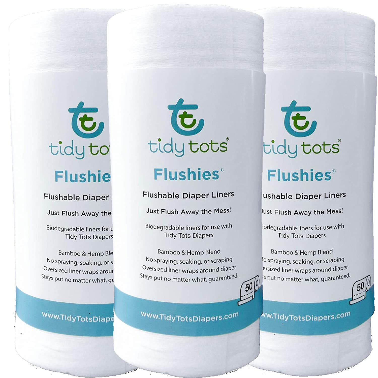 Tidy Tots Diapers Flushies Biodegradable Cornstarch Diaper Liners (3 Pk One Size)