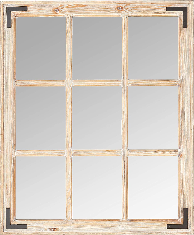 Stone & Beam Vintage Wooden 9-Grid Wall Mirror, 34.75