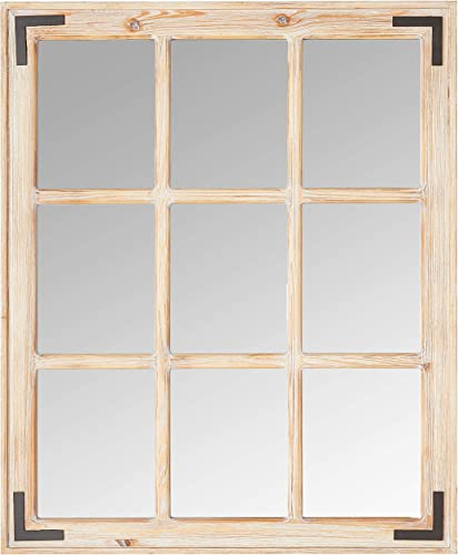 Stone Beam Vintage Wooden 9-Grid Wall Mirror, 34.75 H, Light Stain