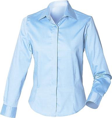 Henbury- Camisa de Trabajo Entallada Oxford de Manga Larga para Mujer