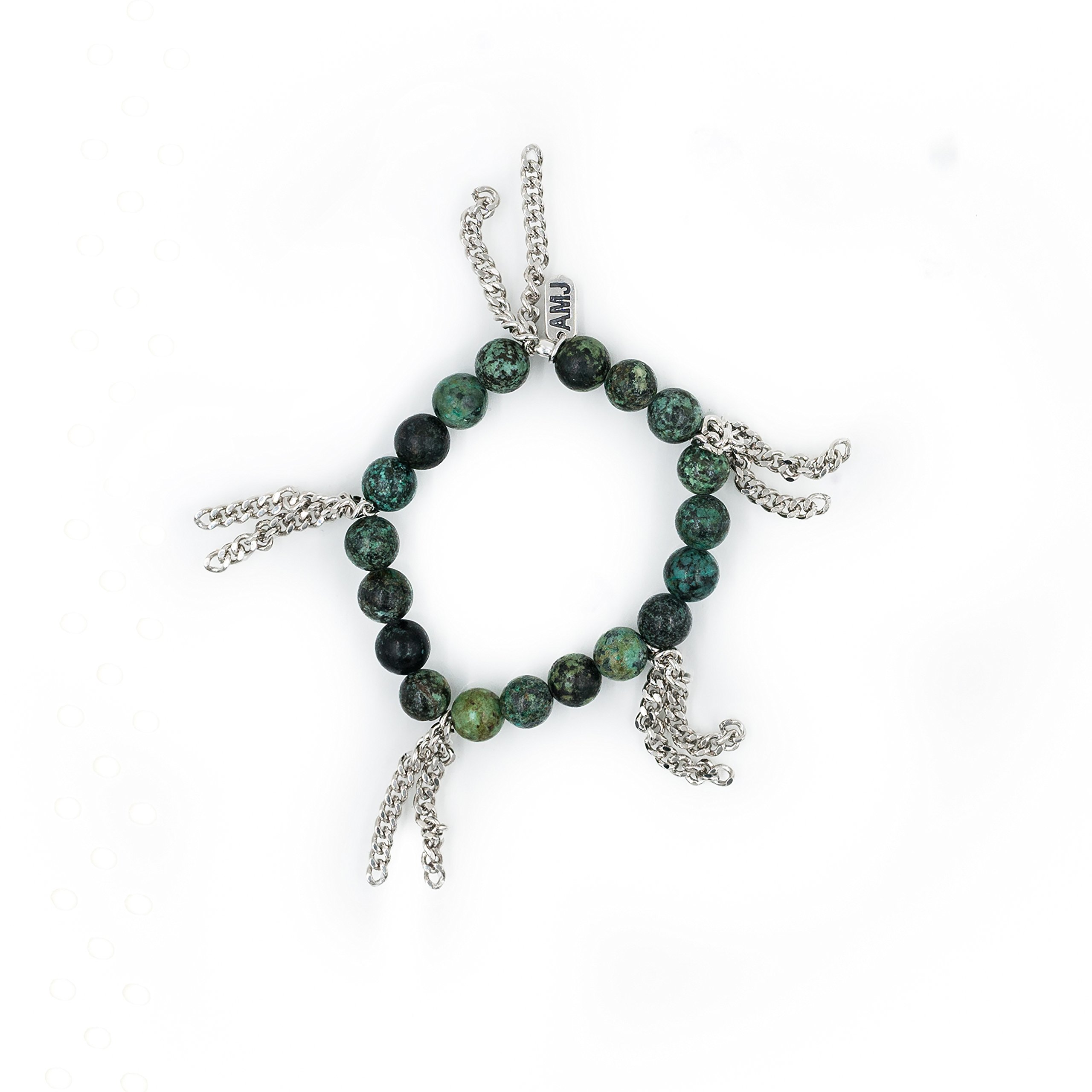 A. Marie Cha Cha African Turquoise Beaded and Rhodium Plated Fringe Stretch Bracelet