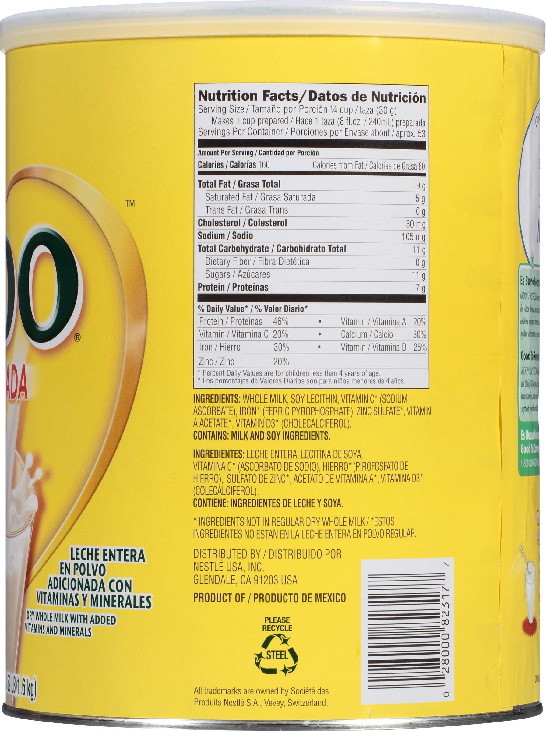 NIDO Fortificada Dry Milk 56.3 oz. Canister, Pack of 4 by Nido (Image #4)