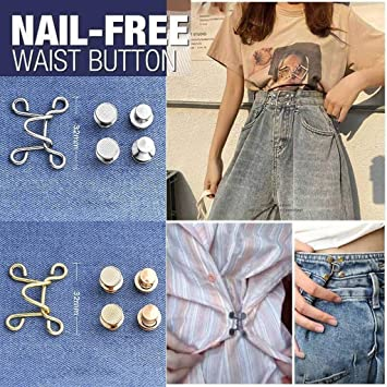 Golden Taillenschnalle Verstellbar Taille Schnalle Set Jeans Extender Knopf zum Wechseln der Hosen Taille Gr/ö/ße