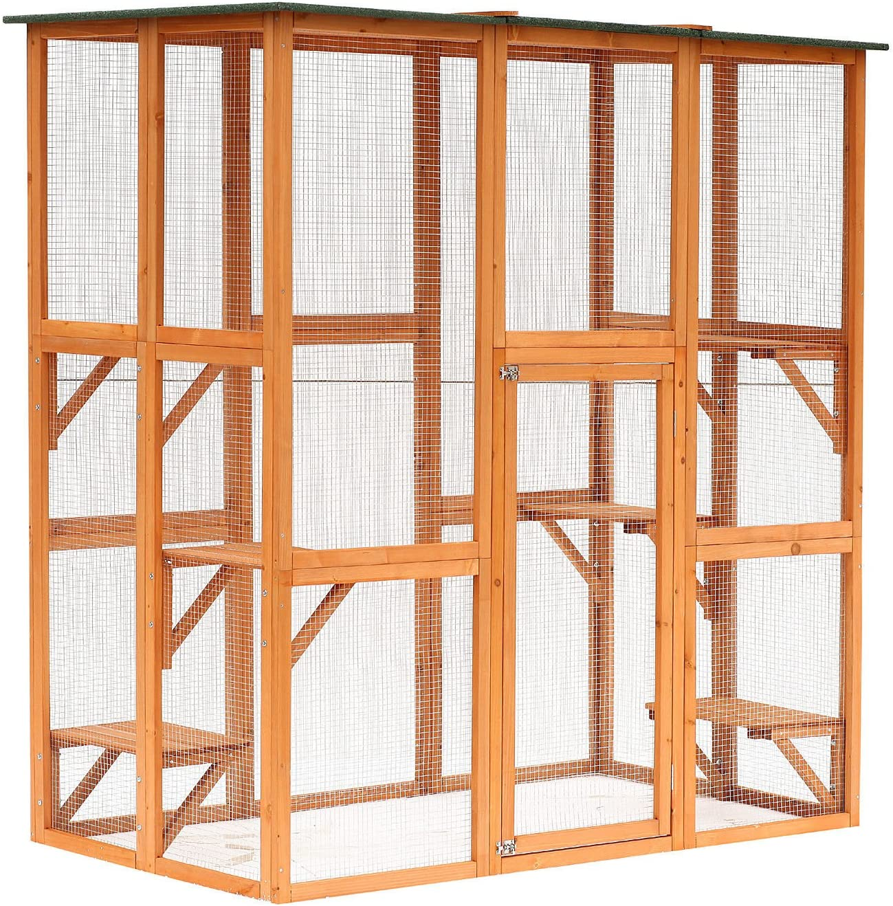 """PawHut 71"""" x 39"""" x 71"""" Large Wooden Outdoor Cat Enclosure Catio Cage with 6 Platforms"""