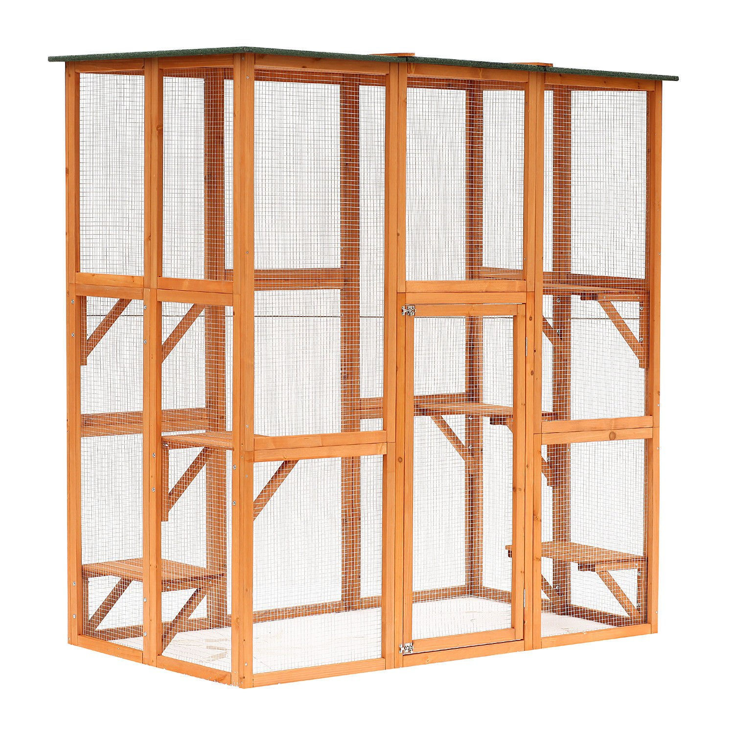 PawHut 71″ x 39″ x 71″ Large Wooden Outdoor Cat Enclosure Catio Cage with 6 Platforms