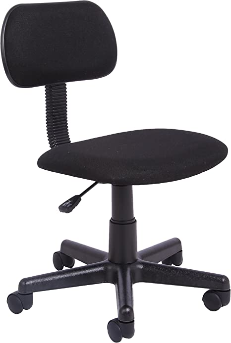 Office Essentials Office Chair For Home No Arms Small Office Computer Chair Height Adjustable Desk Chair Fabric Black Amazon Co Uk Kitchen Home