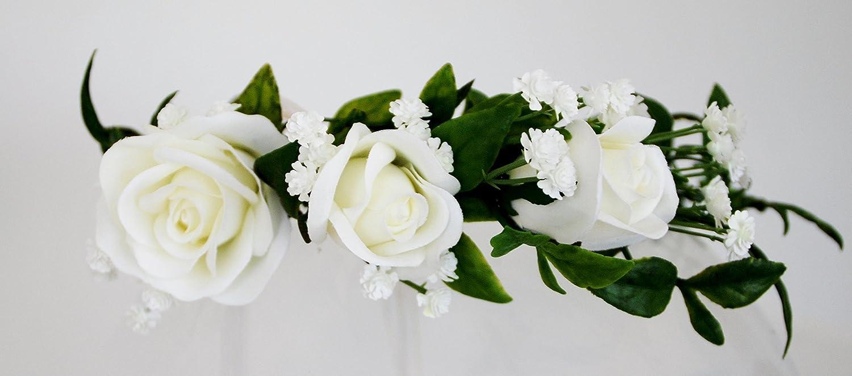Amazon.com   Flower Crown Premium Boho Bridal or Festival White Rose    Beauty 05ffe691f63