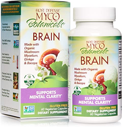 Host Defense, MycoBotanicals Brain, Promotes Concentration, Memory and Cognitive Functioning, Daily Mushroom and Herb Supplement, Vegan, Organic, 60 Capsules 30 Servings