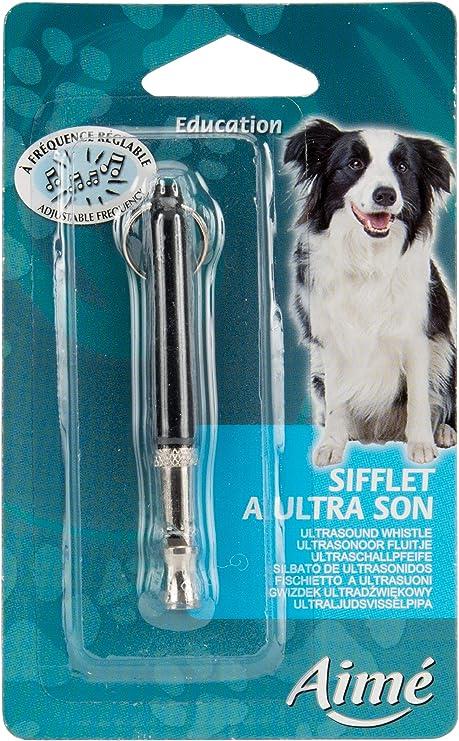 R/églable de dressage pour chien en m/étal avec porte-cl/é sifflet ultrason sonore