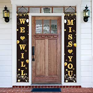 Luxiocio We Will Miss You Banner Porch Decorations, Going Away Party Farewell Party Decoration Supplies, Black Gold Graduation Party & Retirement Office Work Party Sign Décor