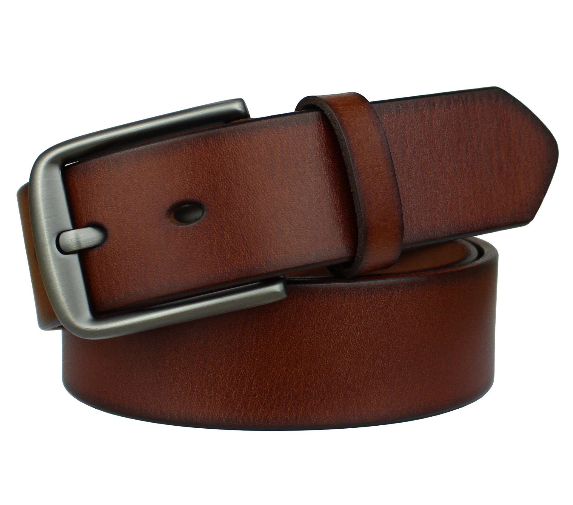 Bullko Mens Casual Genuine Leather Dress Belt Jean Classic Buckle Brown 30-32