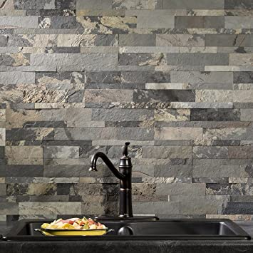 Aspect Peel And Stick Stone Overlay Kitchen Backsplash Medley Slate 5 9 Quot X 23 6 Quot