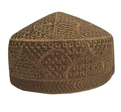 ec51593644623 K Caps Men s Namaz Muslim Hand Embroidered Islamic Koofi Topi (Gold ...