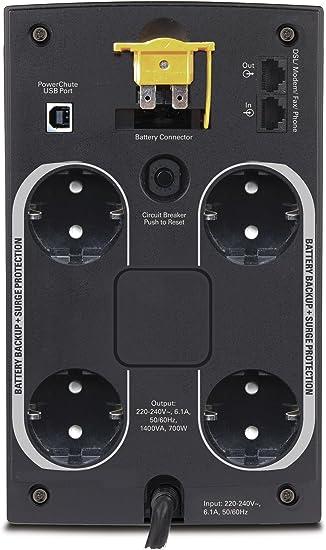 APC BX1400U-GR Back-UPS BX - Sistema de alimentación ...