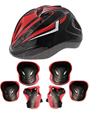 CMYKZONE Kid's Skateboard Helmet Set, Roller Skating Scooter Cycling Skateboard Helmet, Knee And Elbow Pads Safety Pad Safeguard Gear Pads