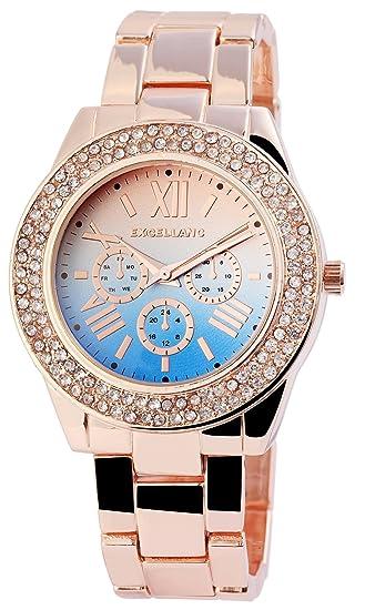 Reloj mujer azul rosado. Oro Rosè Oro Analog Chrono de Look brillantes Reloj de pulsera