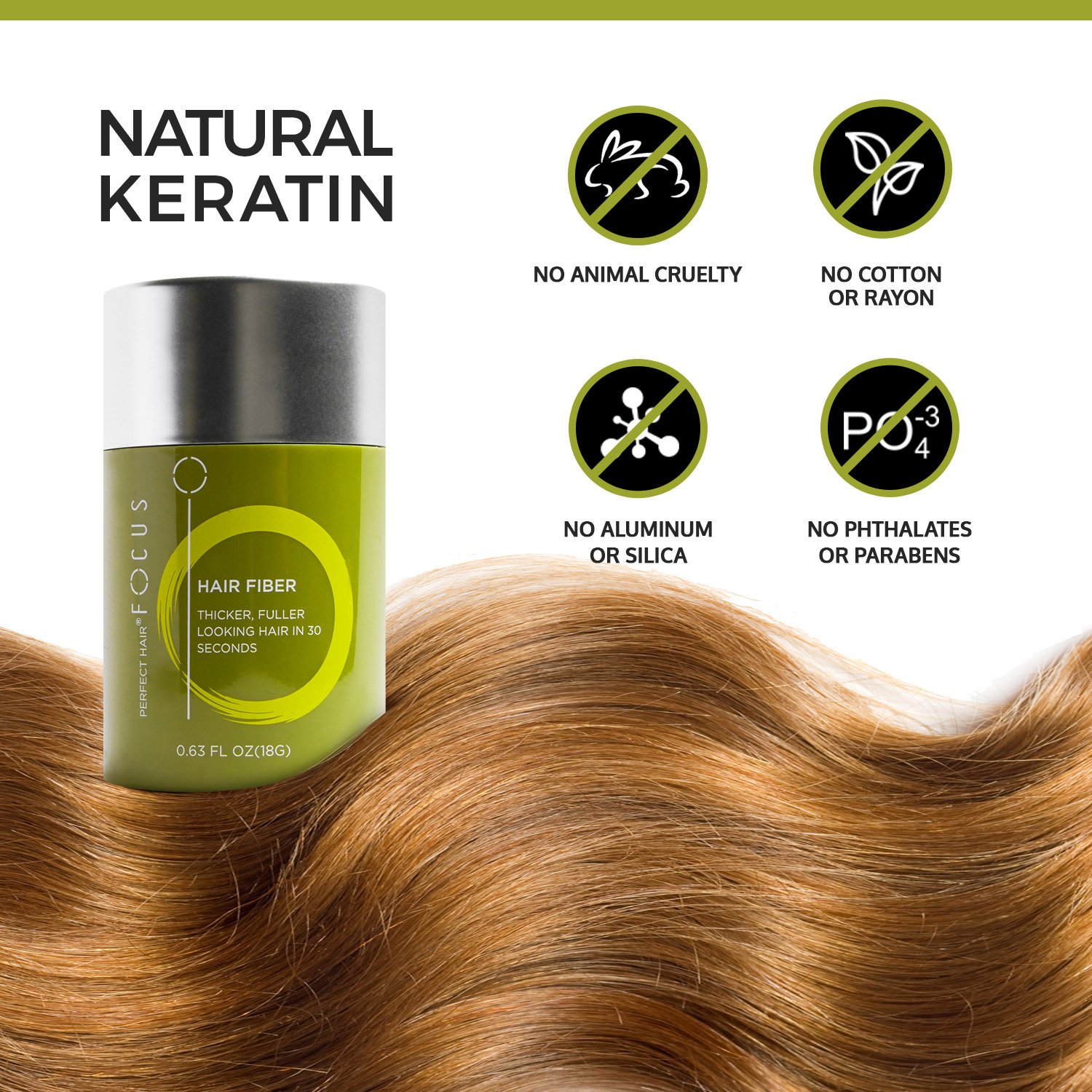 Hair Fibers for Thinning Hair - Volumizing Hair Fillers Are an Undetectable Instant & Safe Root Cover Up - Natural Keratin Protein Adds Texture to Sparse Hair - 18g / 0.63oz (Medium Brown) by Perfect Hair (Image #6)