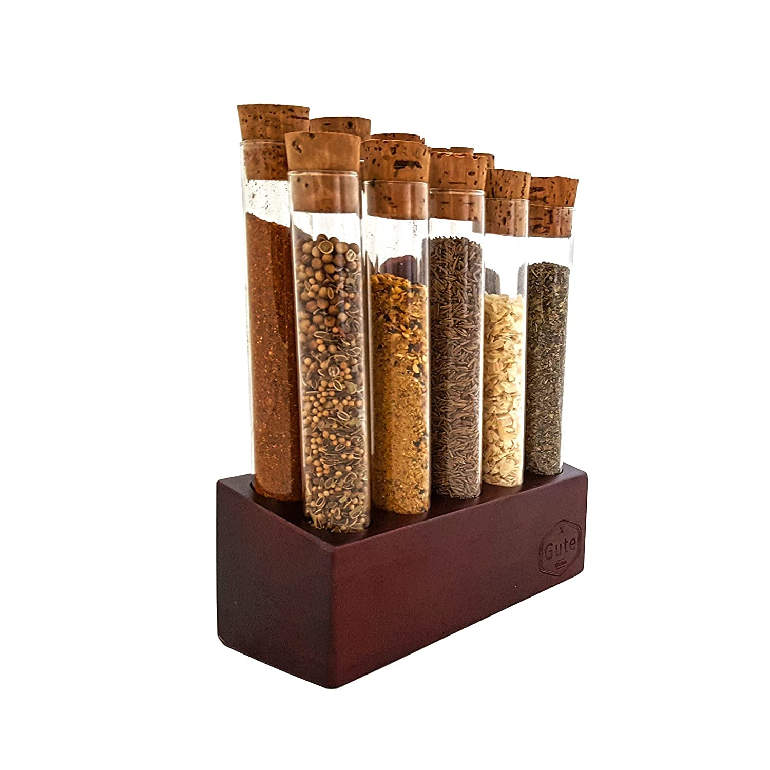 Gute Test Tube Spice Rack, Large Borosilicate Modern Design Glass Test Tubes and Mahogany Stained Wood With Cork Caps (10 Tubes)