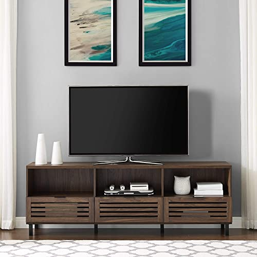 Walker Edison Furniture Company Modern Slatted Wood 80 Universal TV Stand for Flat Screen Living Room Storage Cabinets and Shelves Entertainment Center, 70 Inch, Dark Walnut