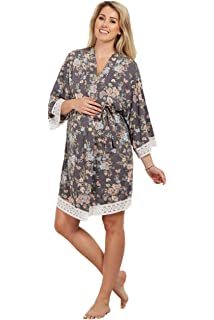 694fc33ebcf89 PinkBlush Maternity Mint Floral Border Chiffon Long Kimono at Amazon ...