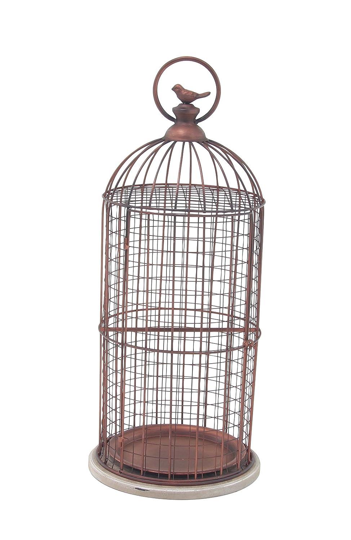 Deco 79 Decorative Bird Cage, Bronze, White