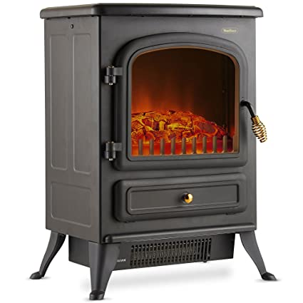 VonHaus Electric Fireplace Stove Heater Portable Free Standing With Log  Wood Burning Flame Effect Light 1500W