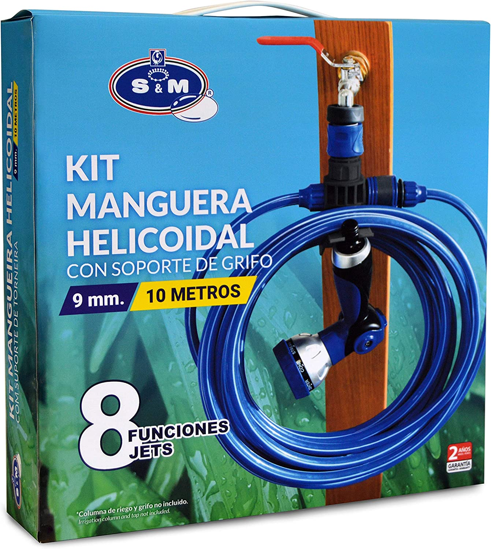 S&M 548635 Kit helicoidal EVA de 10 m con Pistola con 8 Funciones de riego + Soporte Conector de Manguera y rácor, Azul: Amazon.es: Jardín