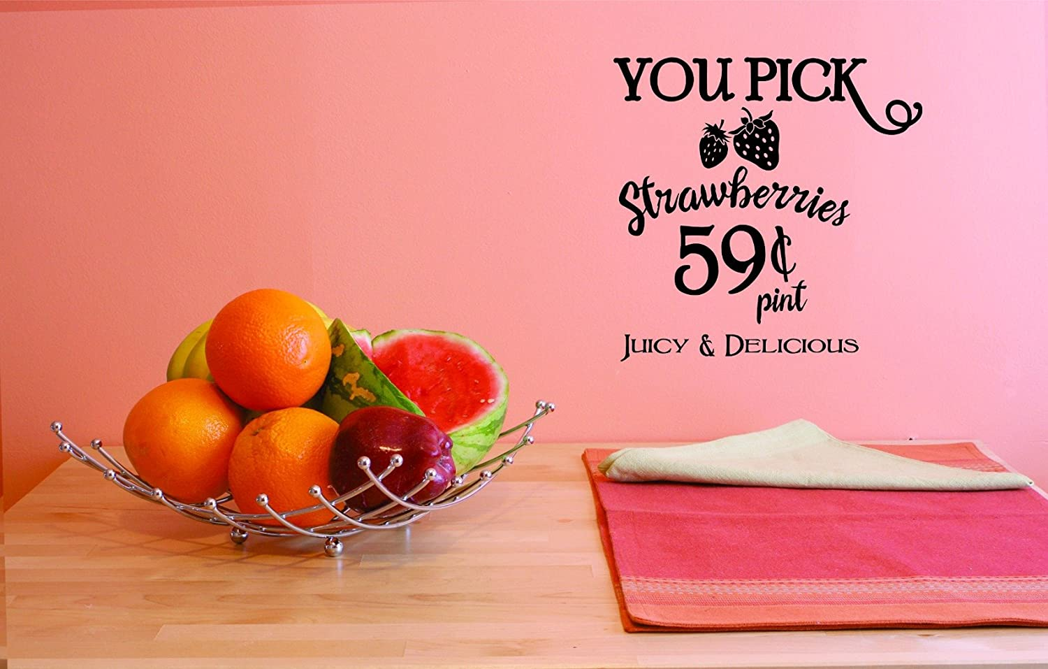Design with Vinyl JER 1790 3 3 Hot New Decals You Pick Strawberries 59 Cents Pint Juicy and Delicious Wall Art Size 20 Inches x 30 Inches Color 20 x 30 Black