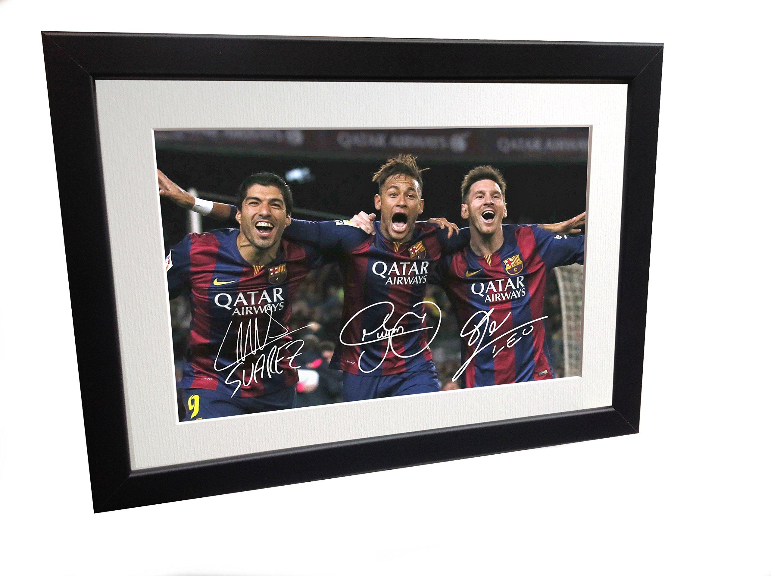 Signed Black Soccer Lionel Messi Neymar Jr Suarez Barcelona Autographed Photo Photograph Picture Frame Gift SM