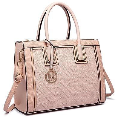 Frauen Faux Leder Handtasche Stilvolle quadratische Tasche Schultertasche (6622 Schwarz) Miss Lulu 2juvxL73