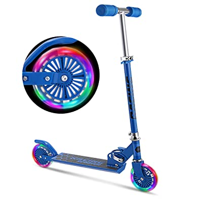 WeSkate Scooter for Kids with LED Light Up Wheels, Adjustable Height Kick Scooters for Boys and Girls, Rear Fender Break|5lb Lightweight Folding Kids Scooter, 110lb Weight Capacity (Blue) : Sports & Outdoors
