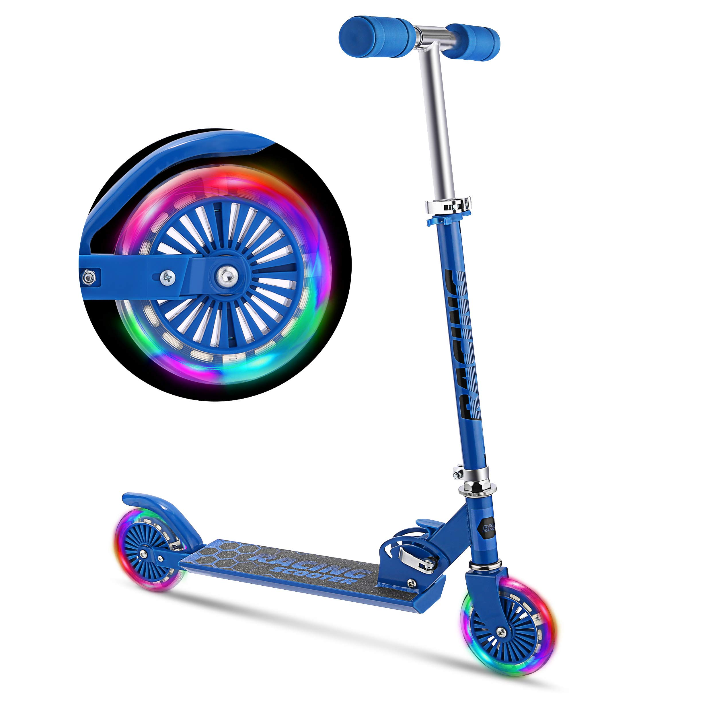 WeSkate Scooter for Kids with LED Light Up Wheels, Adjustable Height Kick Scooters for Boys and Girls, Rear Fender Break|5lb Lightweight Folding Kids Scooter, 110lb Weight Capacity (Blue) by WeSkate