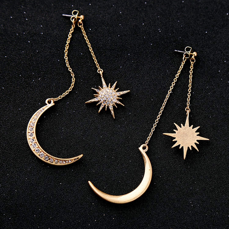 Shiny Crystal Star Moon Earrings Charming Earrings for Women
