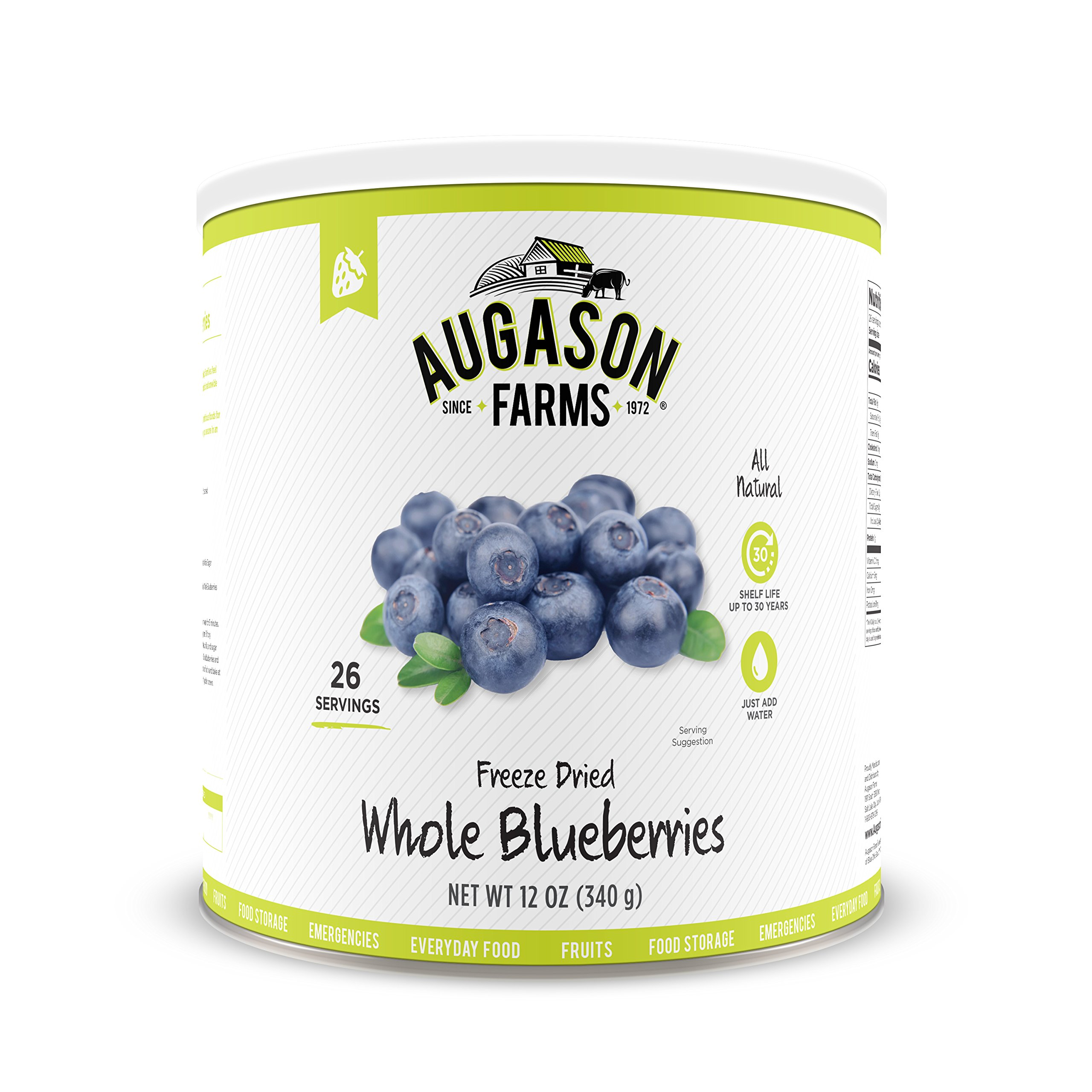 Augason Farms Freeze Dried Whole Blueberries 12 oz No. 10 Can