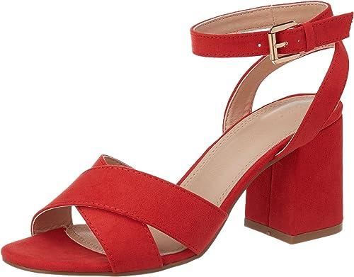 Pimkie Sandales rouges à talons carrés Femme Taille 40