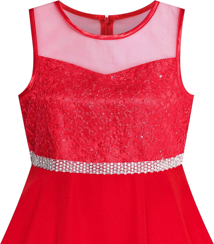 110-158 Sunny Fashion M/ädchen Kleid Strass Chiffon Brautjungfer Tanzen Ball Maxi Kleid Gr
