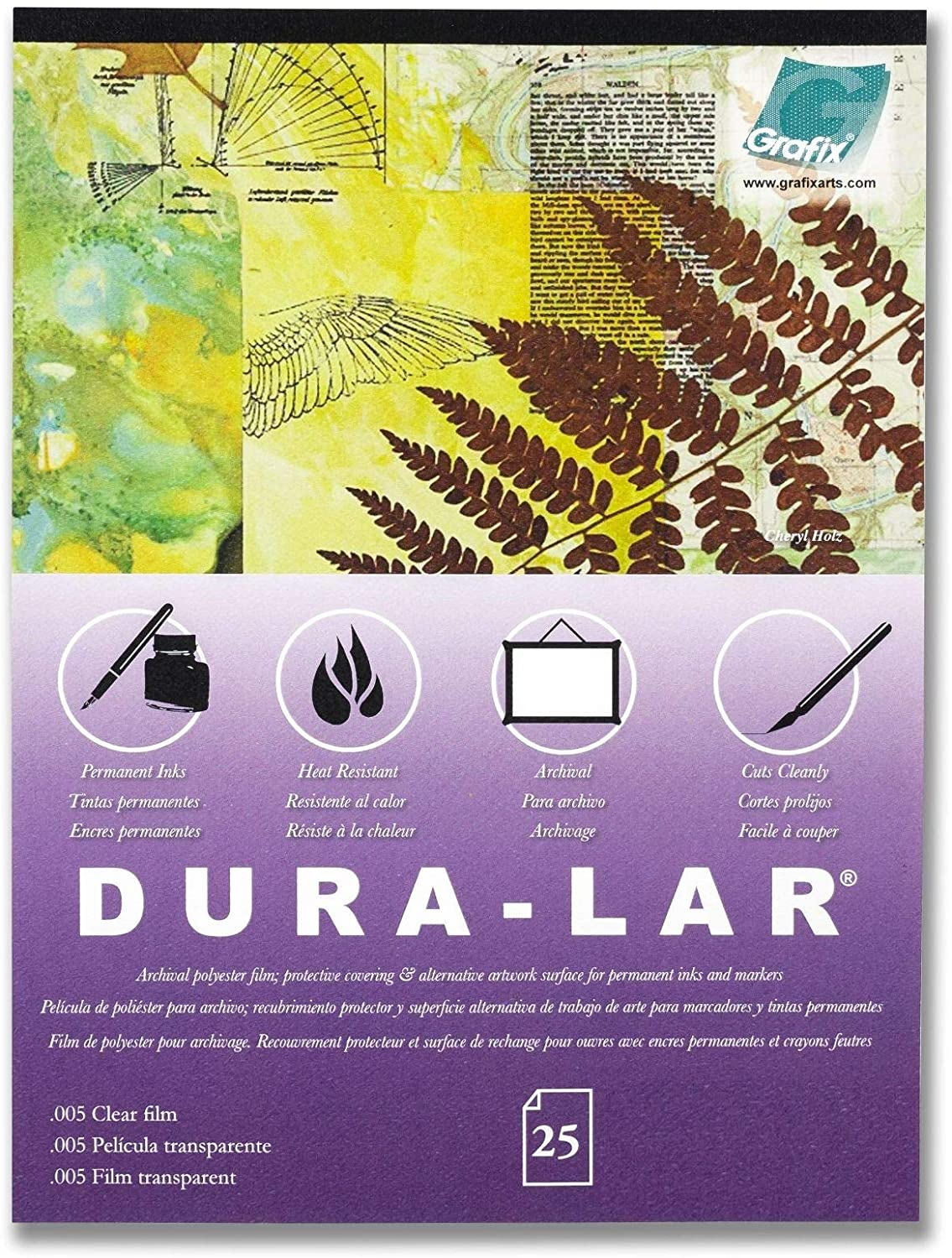 """Grafix Dura-Lar Clear 9 x 12"""", Pad of 25 – Ultra 003"""" Film, Acetate Alternative, Glossy Surface for Coverings, Stencils, Color Separation, Window Applications, Transparencies"""