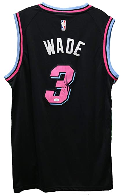 6e72dca9796 Dwyane Wade Miami Heat Signed Autographed City Edition Black #3 Jersey JSA  COA at Amazon's Sports Collectibles Store