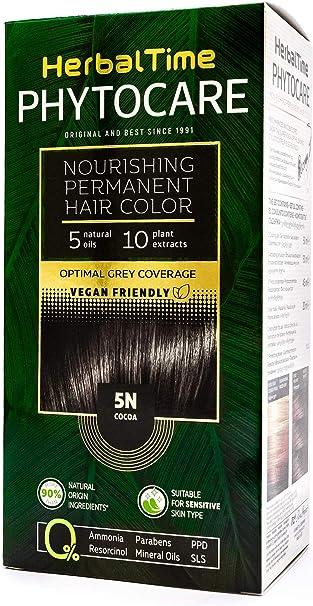 Phytocare Tinte permanente y nutritivo para cabello sin amoniaco, sin PPD, sin SLS, sin parabenos Color Cacao 5N