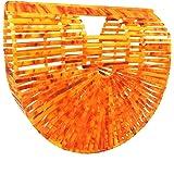 Beauty YaYa Ark Bamboo/Acrylic Clutch Handbag Wooden Purse Tote Bag