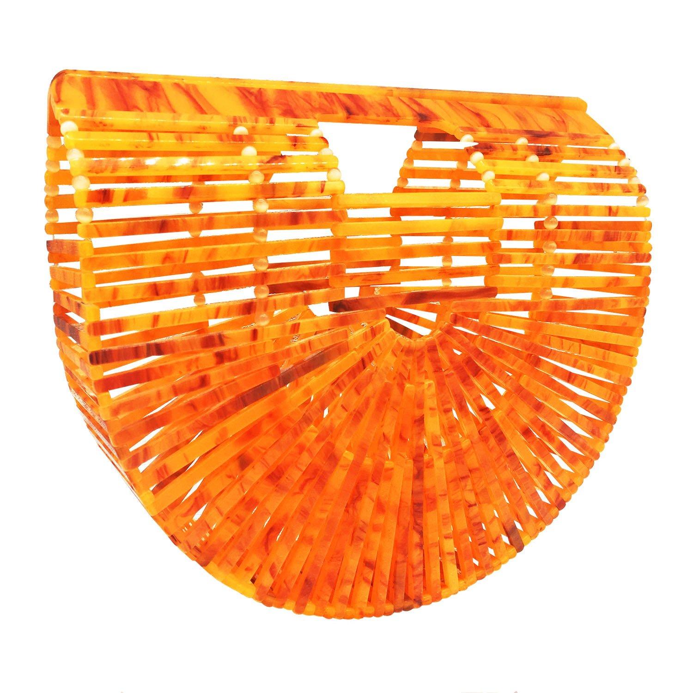 Dark orange Acrylic Beauty YaYa Ark Bamboo Acrylic Clutch Handbag Wooden Purse Tote Bag