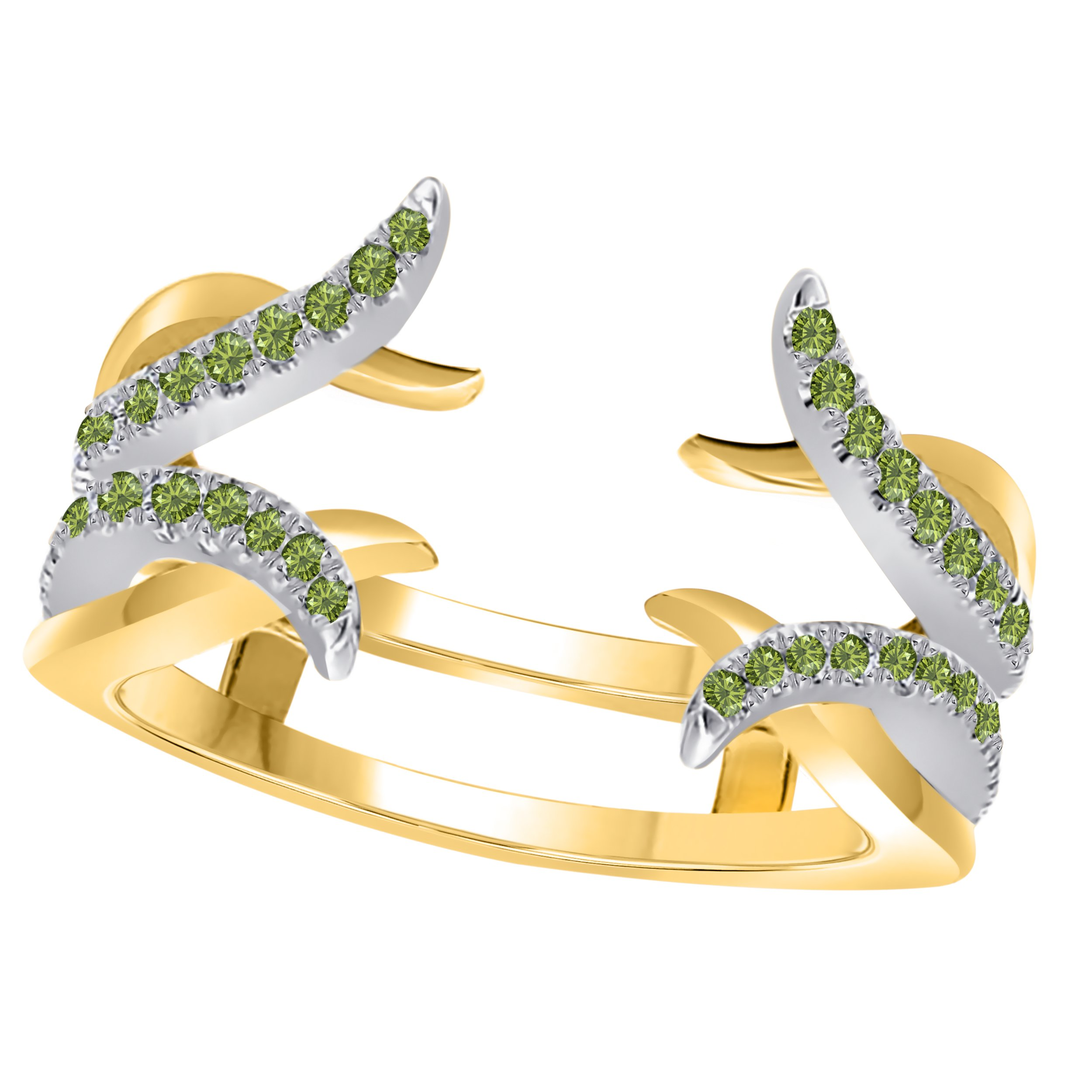RSJ Global Sterling Silver Plated Alloy Created Green-Peridot Round Solitaire Ring Guard Wrap Enhancer Jacket Wedding Engagement Ring Size 4 to 11