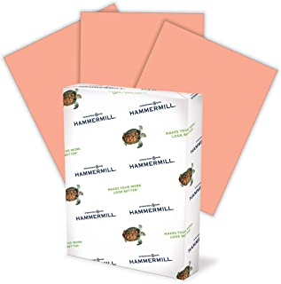 product image for Hammermill Colored Paper, 20 lb Salmon Printer Paper, 8.5 x 11-1 Ream (500 Sheets) - Made in the USA, Pastel Paper